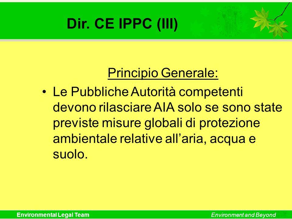 Dir. CE IPPC (III) Principio Generale: