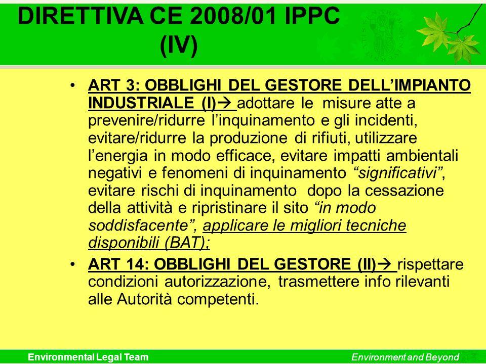 DIRETTIVA CE 2008/01 IPPC (IV)