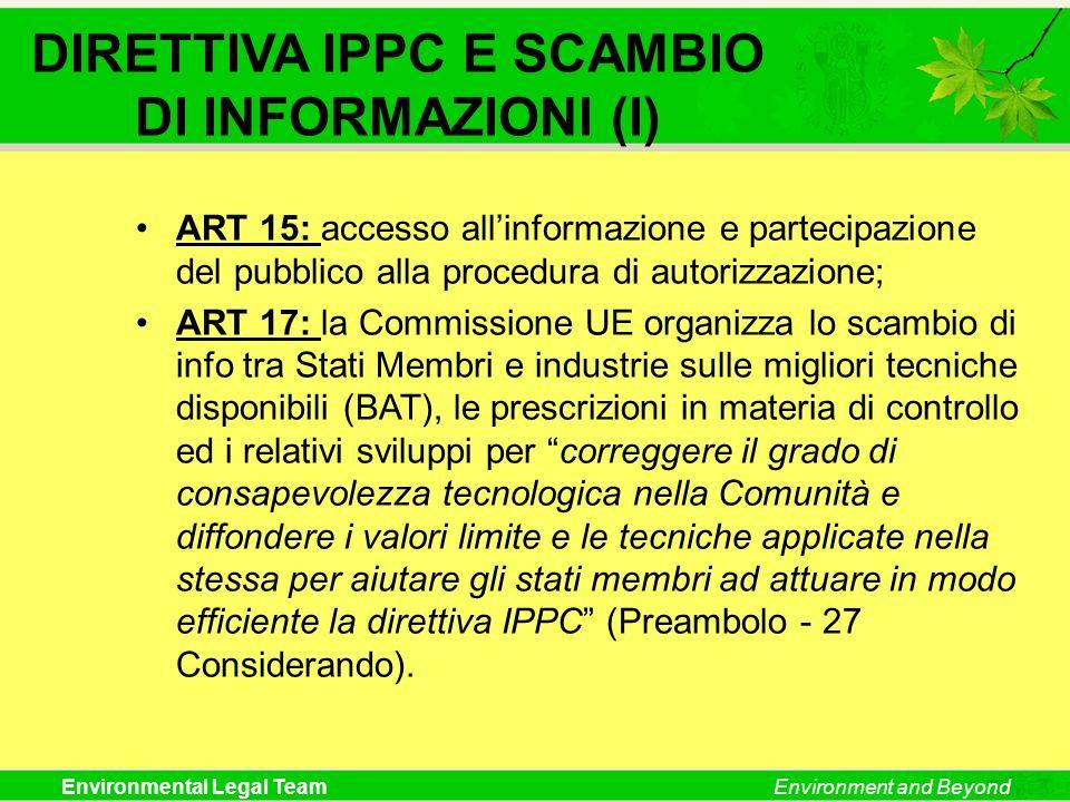 DIRETTIVA IPPC E SCAMBIO DI INFORMAZIONI (I)