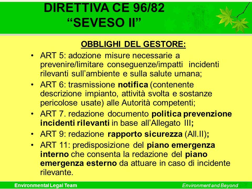 DIRETTIVA CE 96/82 SEVESO II