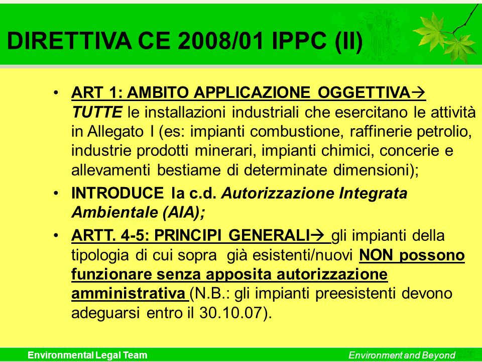DIRETTIVA CE 2008/01 IPPC (II)