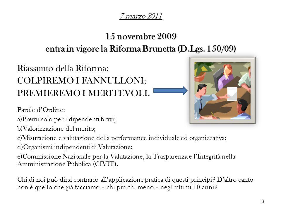 entra in vigore la Riforma Brunetta (D.Lgs. 150/09)