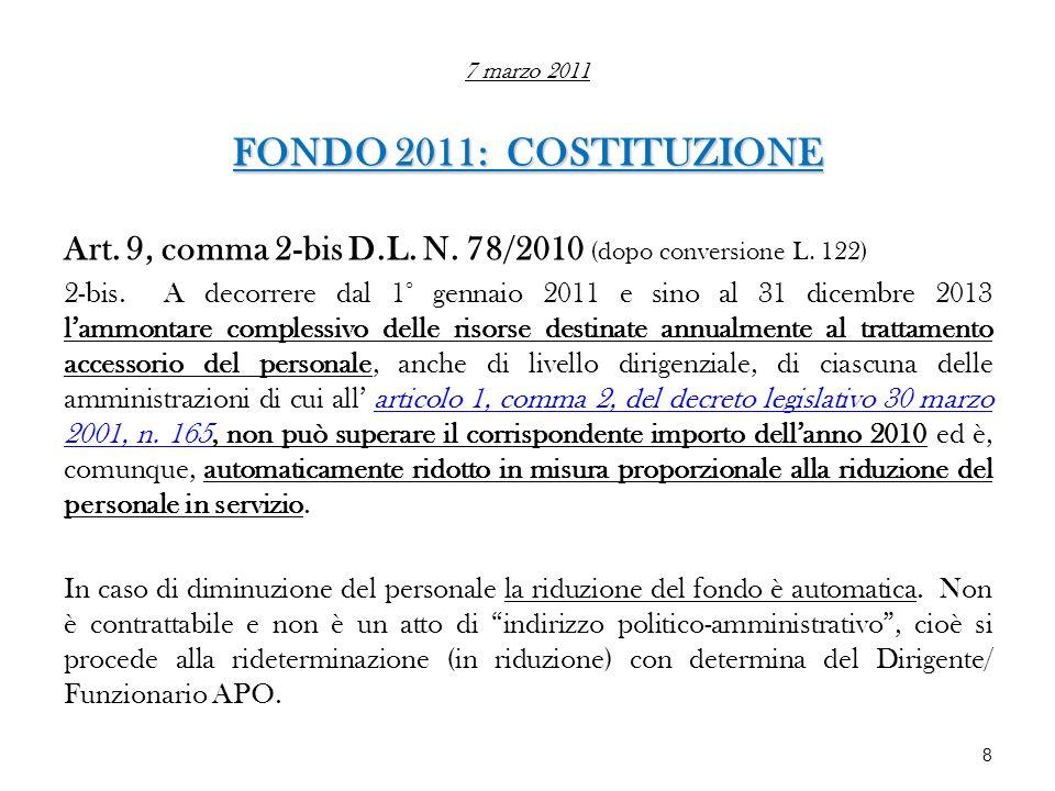 7 marzo 2011 FONDO 2011: COSTITUZIONE. Art. 9, comma 2-bis D.L. N. 78/2010 (dopo conversione L. 122)