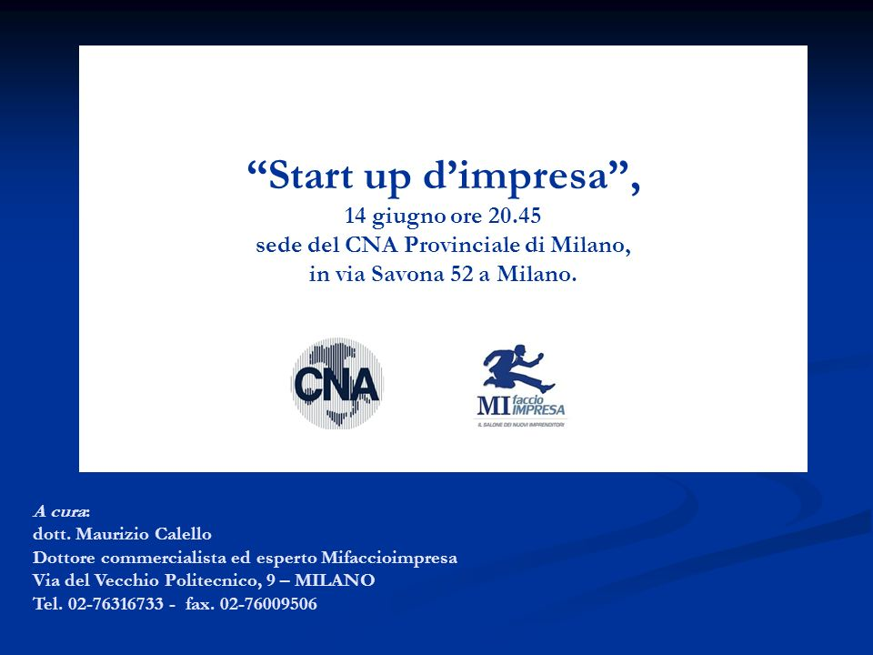 Start up d'impresa , 14 giugno ore 20