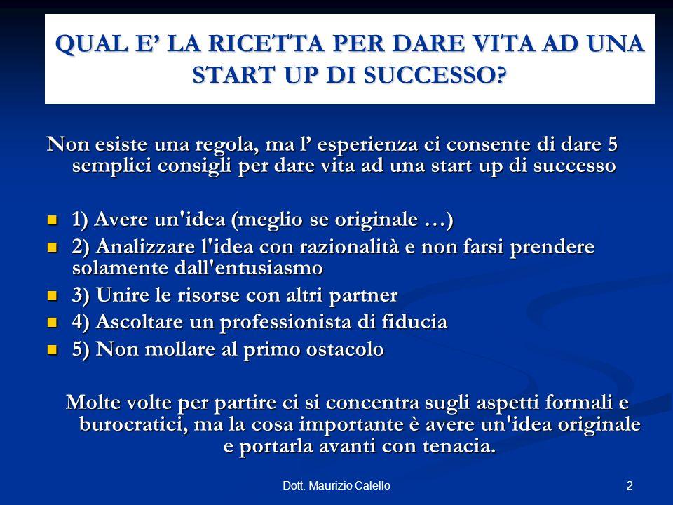 QUAL E' LA RICETTA PER DARE VITA AD UNA START UP DI SUCCESSO