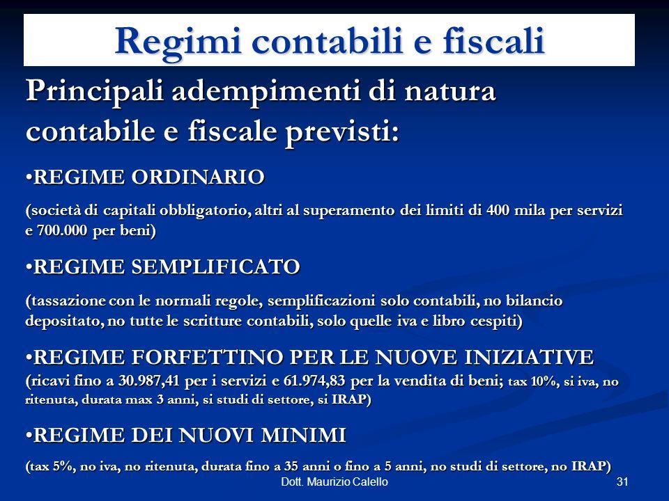 Regimi contabili e fiscali