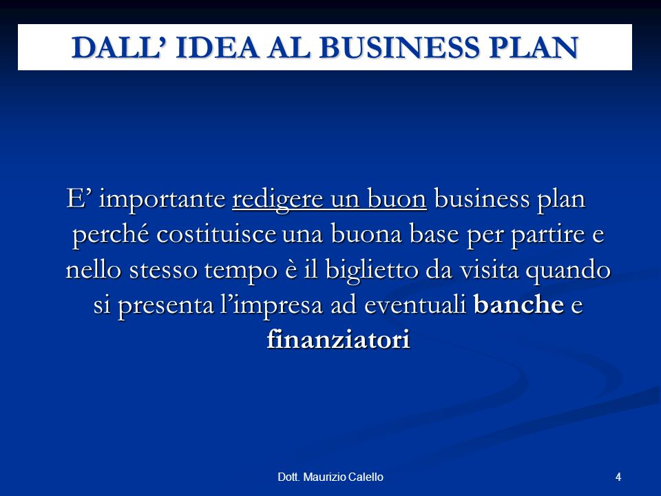 DALL' IDEA AL BUSINESS PLAN