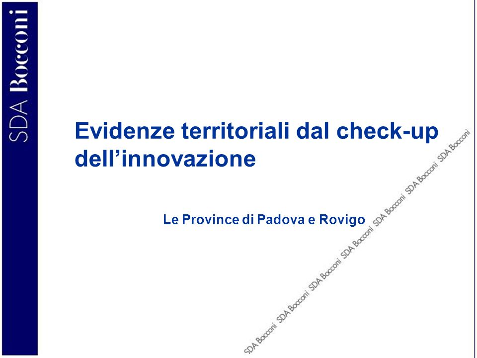 Evidenze territoriali dal check-up dell'innovazione