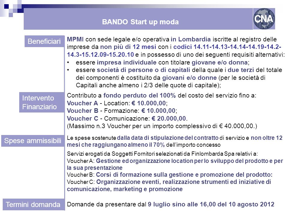 BANDO Start up moda Beneficiari Intervento Finanziario
