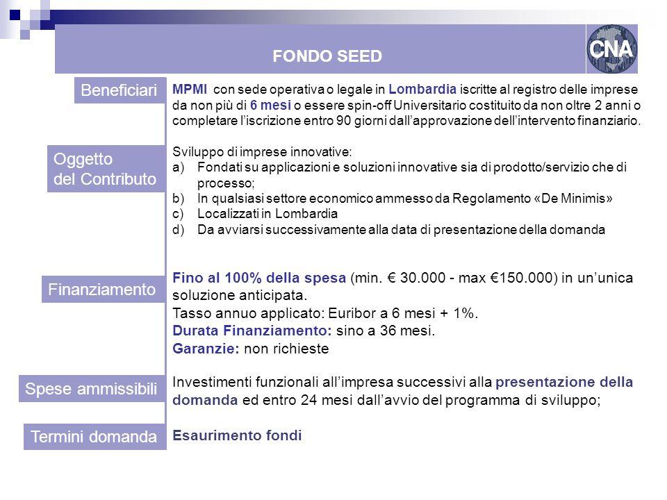 FONDO SEED Beneficiari Oggetto del Contributo Finanziamento
