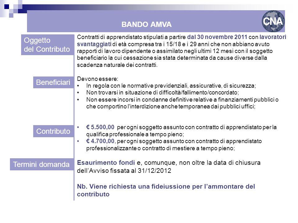 BANDO AMVA Oggetto del Contributo Beneficiari Contributo
