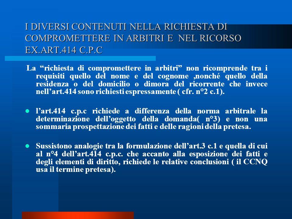I DIVERSI CONTENUTI NELLA RICHIESTA DI COMPROMETTERE IN ARBITRI E NEL RICORSO EX.ART.414 C.P.C