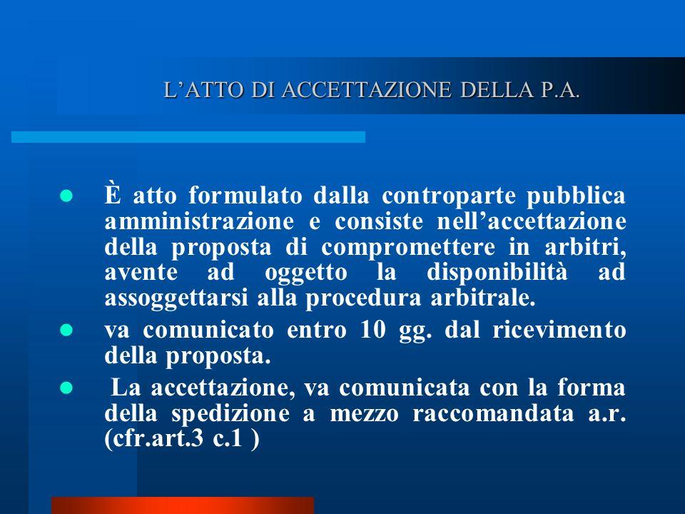 L'ATTO DI ACCETTAZIONE DELLA P.A.