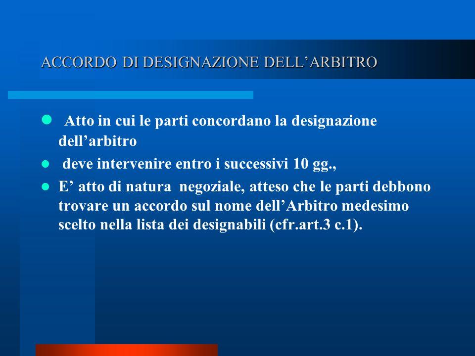 ACCORDO DI DESIGNAZIONE DELL'ARBITRO