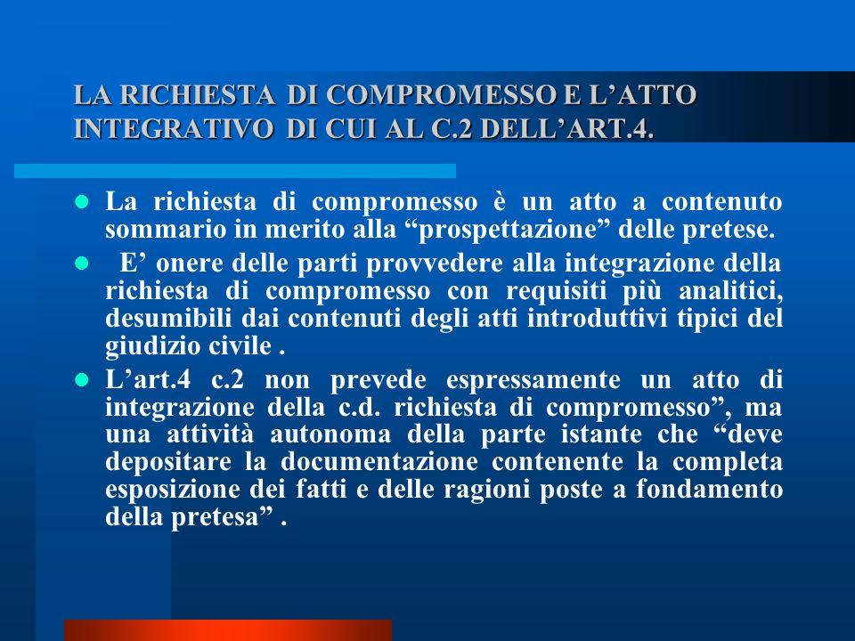 LA RICHIESTA DI COMPROMESSO E L'ATTO INTEGRATIVO DI CUI AL C