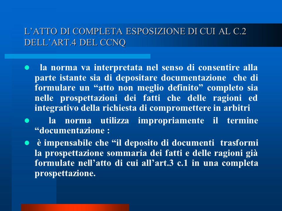 L'ATTO DI COMPLETA ESPOSIZIONE DI CUI AL C.2 DELL'ART.4 DEL CCNQ