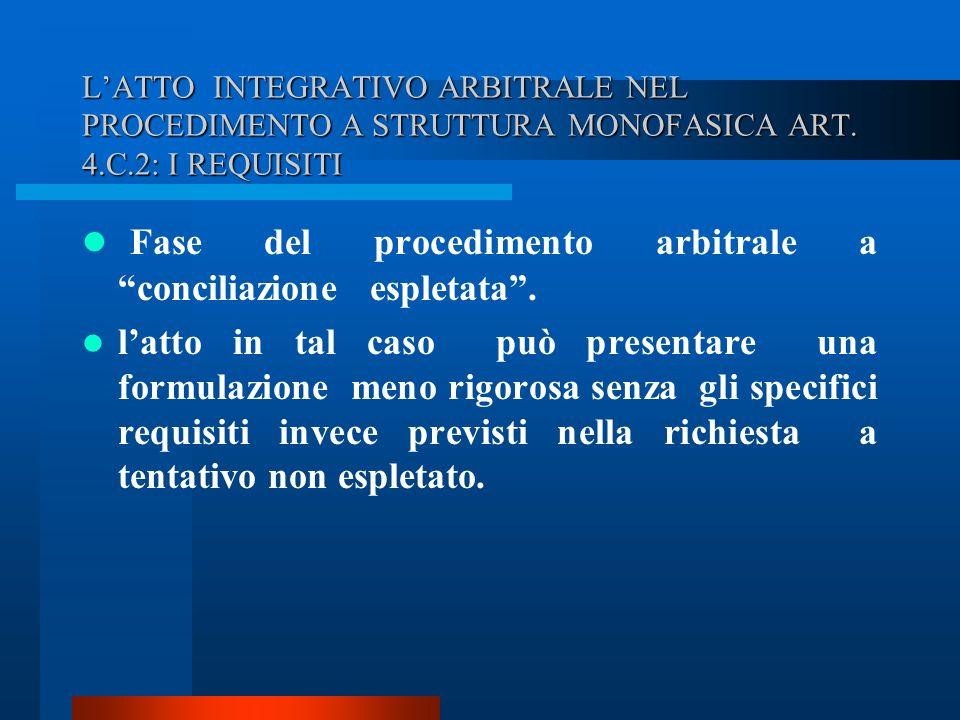 Fase del procedimento arbitrale a conciliazione espletata .