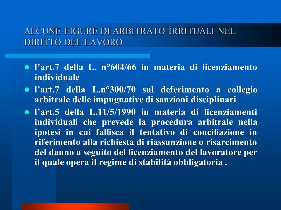 ALCUNE FIGURE DI ARBITRATO IRRITUALI NEL DIRITTO DEL LAVORO