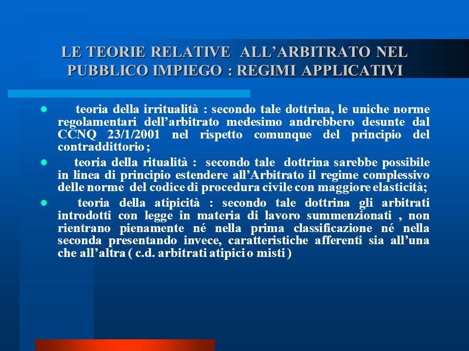 LE TEORIE RELATIVE ALL'ARBITRATO NEL PUBBLICO IMPIEGO : REGIMI APPLICATIVI