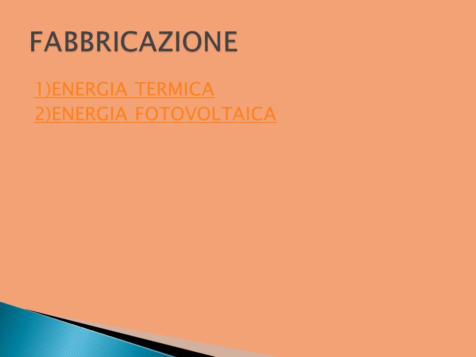 FABBRICAZIONE 1)ENERGIA TERMICA 2)ENERGIA FOTOVOLTAICA