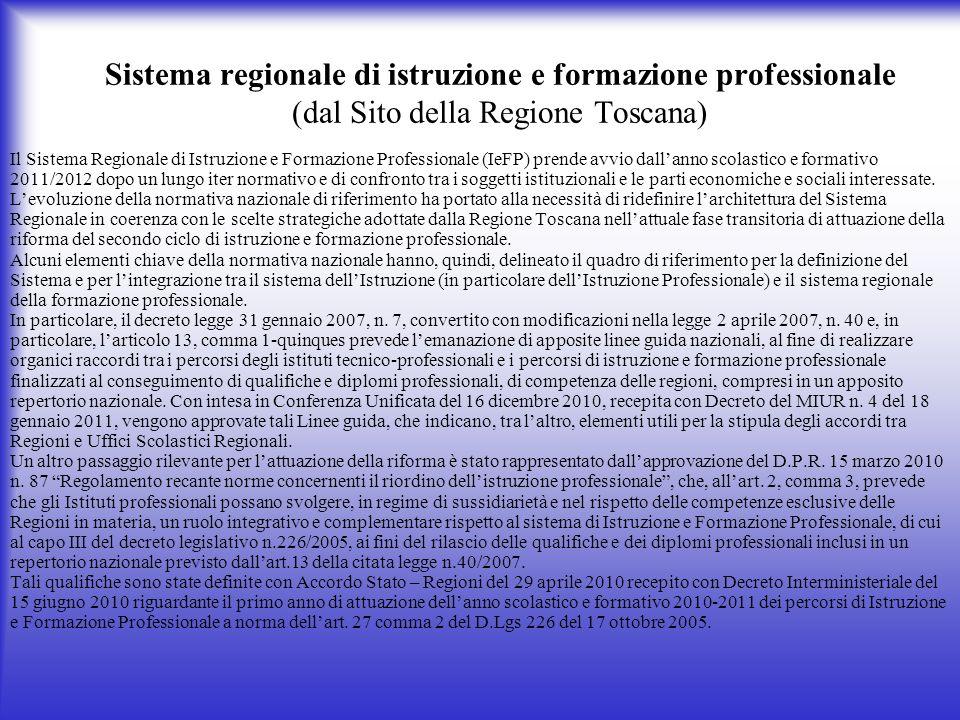 Sistema regionale di istruzione e formazione professionale (dal Sito della Regione Toscana)
