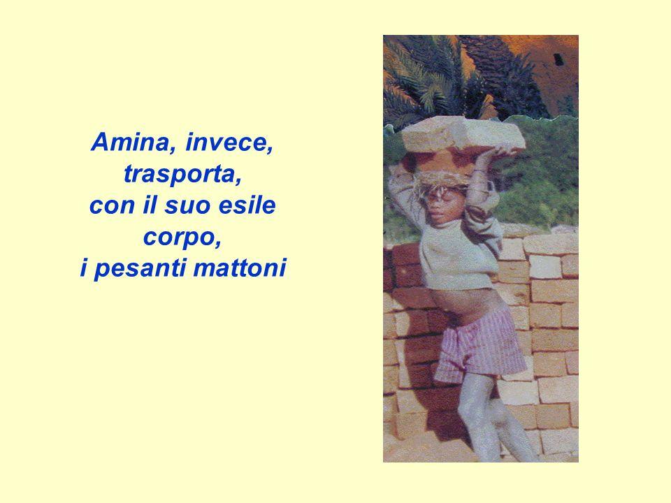 Amina, invece, trasporta, con il suo esile corpo, i pesanti mattoni