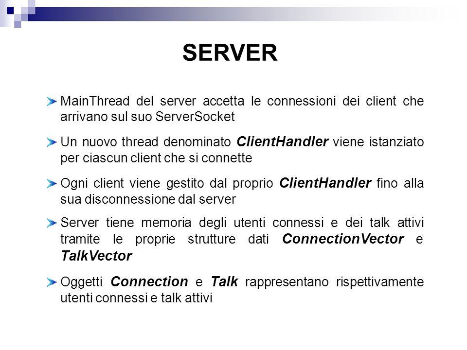 SERVER MainThread del server accetta le connessioni dei client che arrivano sul suo ServerSocket.