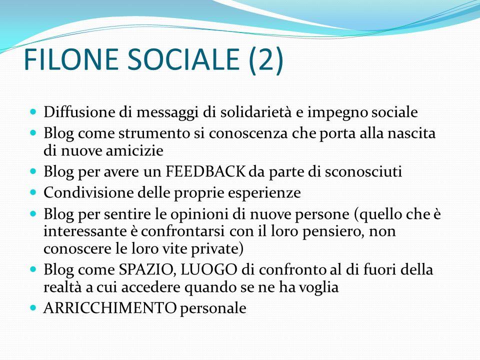FILONE SOCIALE (2) Diffusione di messaggi di solidarietà e impegno sociale.
