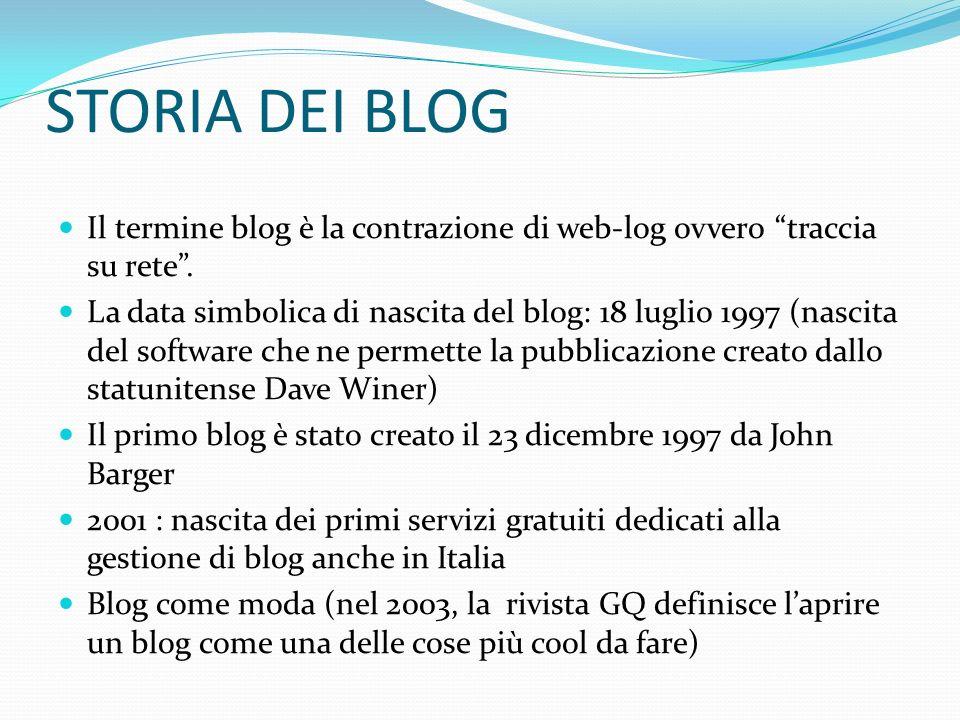 STORIA DEI BLOG Il termine blog è la contrazione di web-log ovvero traccia su rete .