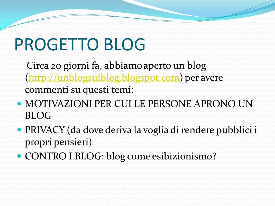 PROGETTO BLOG Circa 20 giorni fa, abbiamo aperto un blog (http://unblogsuiblog.blogspot.com) per avere commenti su questi temi: