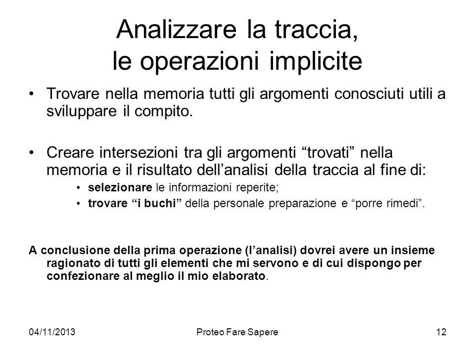 Analizzare la traccia, le operazioni implicite