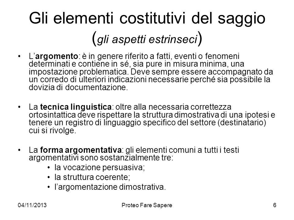 Gli elementi costitutivi del saggio (gli aspetti estrinseci)