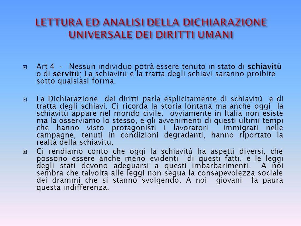 LETTURA ED ANALISI DELLA DICHIARAZIONE UNIVERSALE DEI DIRITTI UMANI