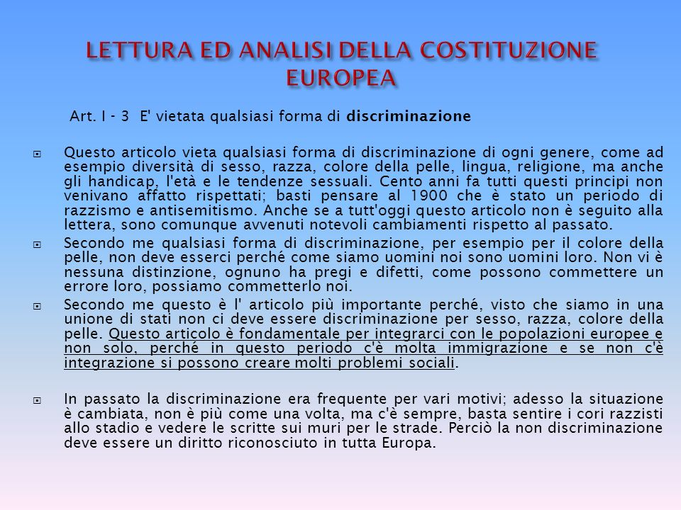 LETTURA ED ANALISI DELLA COSTITUZIONE EUROPEA