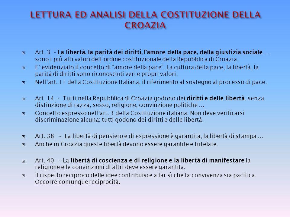 LETTURA ED ANALISI DELLA COSTITUZIONE DELLA CROAZIA