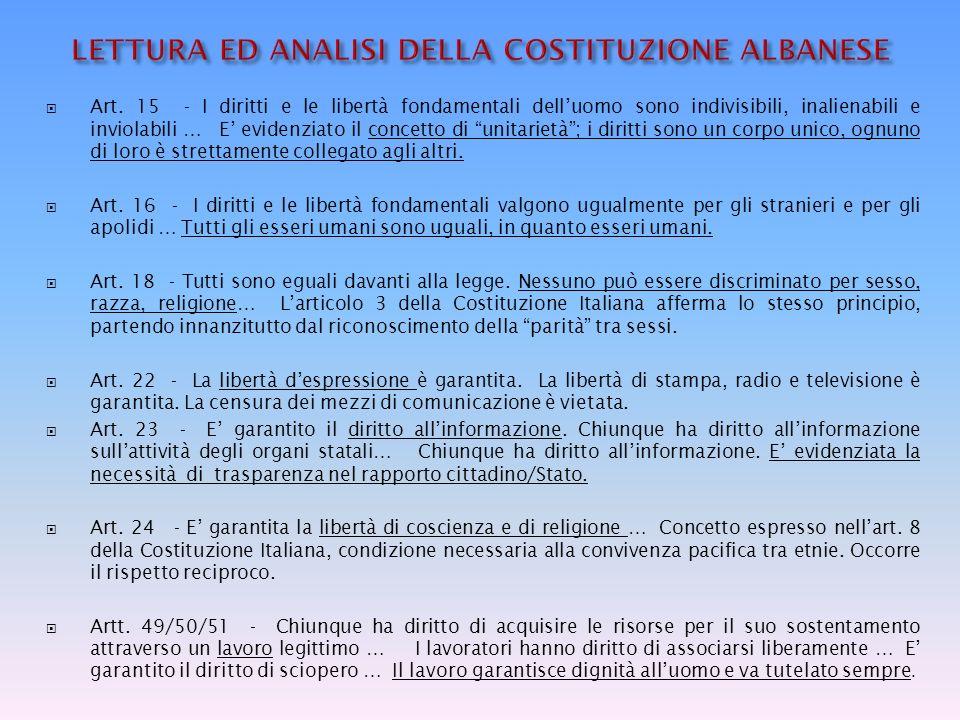 LETTURA ED ANALISI DELLA COSTITUZIONE ALBANESE