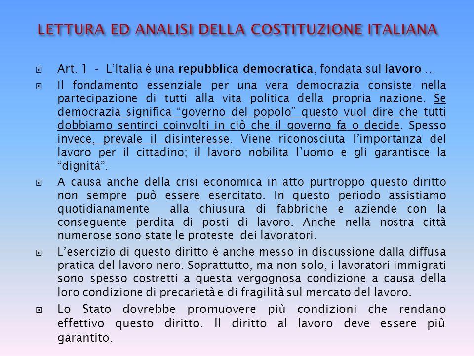LETTURA ED ANALISI DELLA COSTITUZIONE ITALIANA