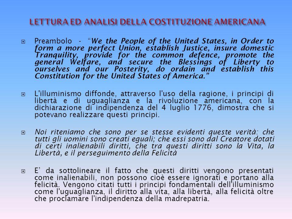 LETTURA ED ANALISI DELLA COSTITUZIONE AMERICANA