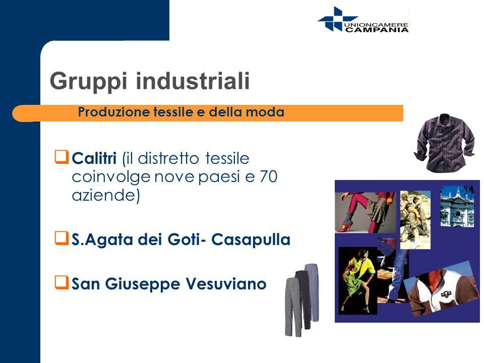 Gruppi industriali Produzione tessile e della moda. Calitri (il distretto tessile coinvolge nove paesi e 70 aziende)