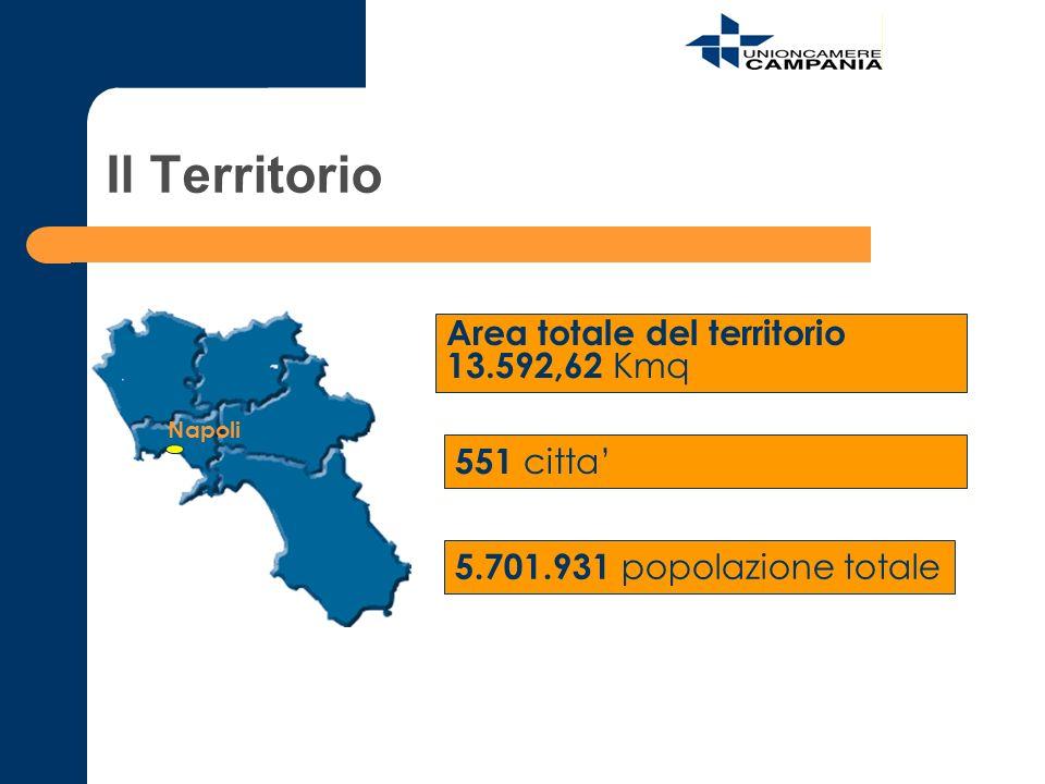 Il Territorio Area totale del territorio 13.592,62 Kmq 551 citta'