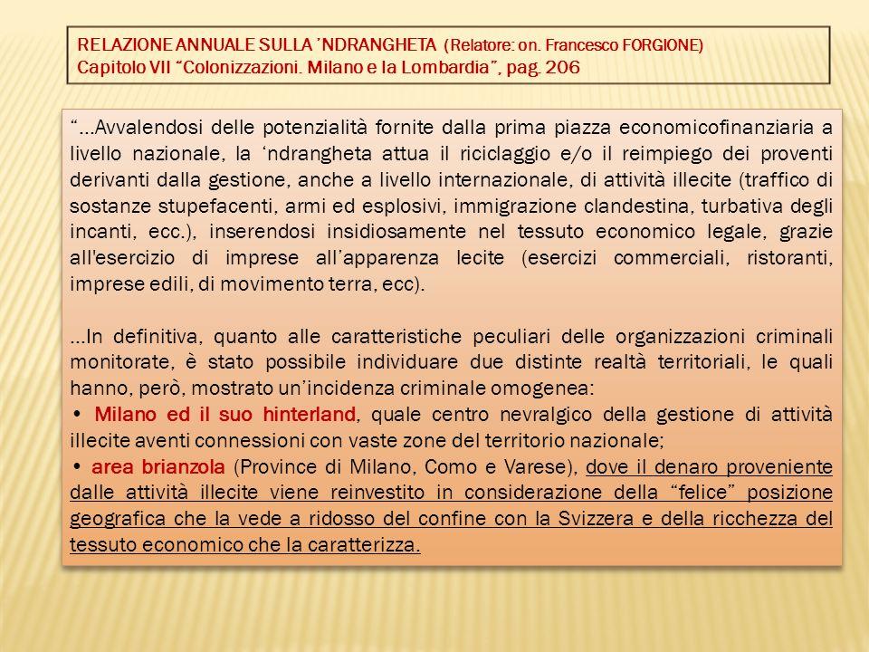 RELAZIONE ANNUALE SULLA 'NDRANGHETA (Relatore: on. Francesco FORGIONE)