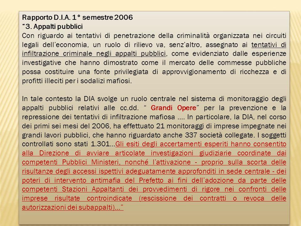 Rapporto D.I.A. 1° semestre 2006
