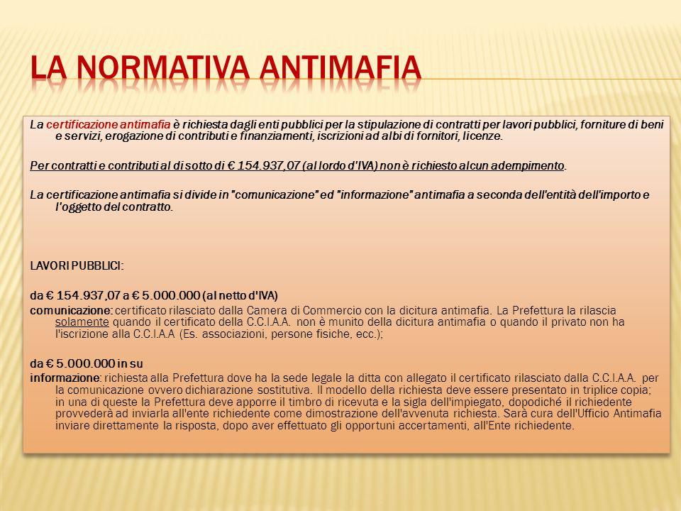 La normativa antimafia