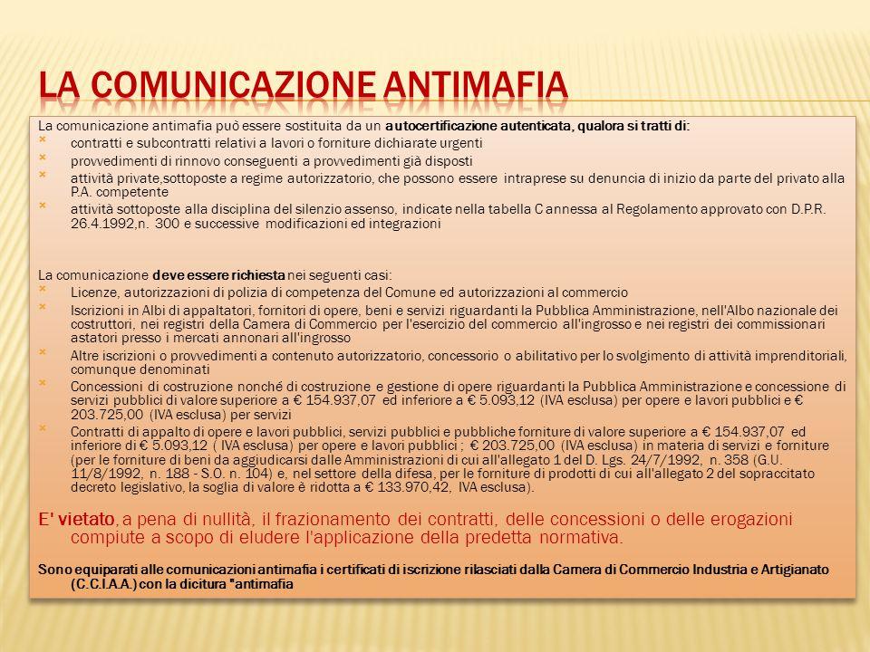 La comunicazione antimafia