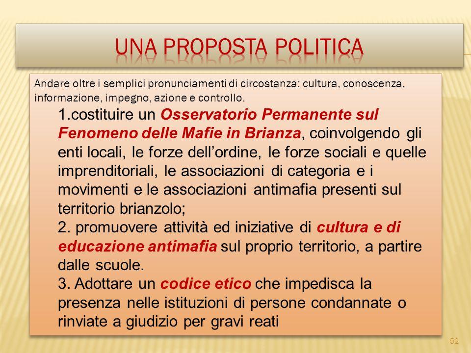 Una proposta politica Andare oltre i semplici pronunciamenti di circostanza: cultura, conoscenza, informazione, impegno, azione e controllo.