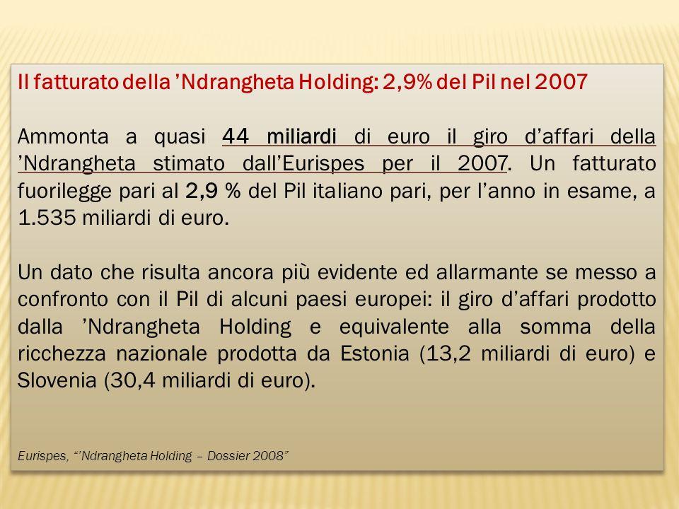 Il fatturato della 'Ndrangheta Holding: 2,9% del Pil nel 2007