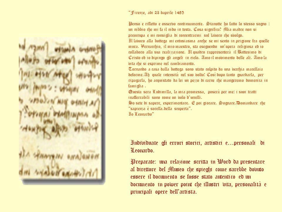 Individuate gli errori storici, artistici e…personali di Leonardo.