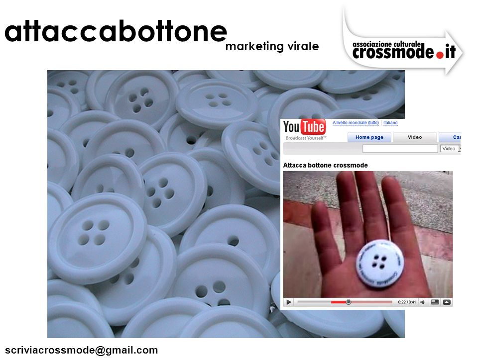 attaccabottone marketing virale scriviacrossmode@gmail.com