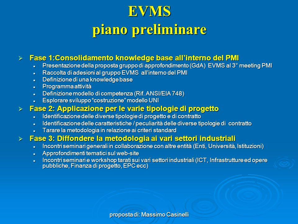 EVMS piano preliminare