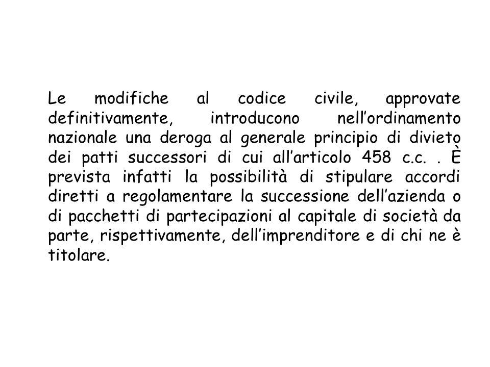 Le modifiche al codice civile, approvate definitivamente, introducono nell'ordinamento nazionale una deroga al generale principio di divieto dei patti successori di cui all'articolo 458 c.c.